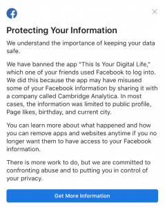 "Slika 2. Facebook aplikacija ""This Is Your Digital Life"" (Izvor: Pix11.com)"